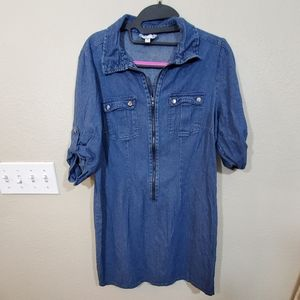 Vintage denim zippered collared dress